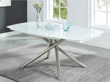 Table à manger extensible CAMELIA - 6 à 8 couverts - Verre trempé & métal - Blanc