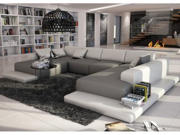 Canapé panoramique 7 places en simili SCOSY - Bicolore gris et blanc