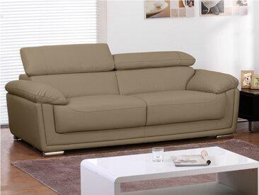 Canapé 3 places en cuir MISHKA - Beige