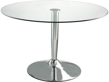 Table à manger ronde NOLAN - Verre trempé & métal chromé