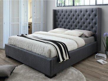 Lit MASSIMO tête de lit capitonnée - 160x200cm - Tissu gris