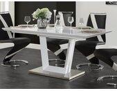 Table à manger extensible ALIA - 6 à 8 couverts - MDF laqué - Blanc