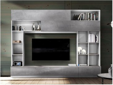 Mur TV MAJORIS avec rangements - Coloris : Blanc laqué et béton