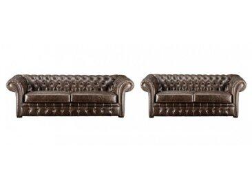 Canapé 3+2 chesterfield CLOTAIRE 100% cuir vieilli