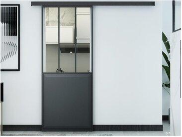 Porte coulissante atelier en applique ARTISTO - H205cm x L93cm - MDF noir
