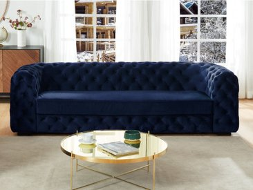 Canapé 3 places chesterfield STANLEY - Velours bleu nuit