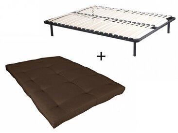 Ensemble cadre à lattes + futon 140x190cm - COTON traitement téflon - SHIVA de DREAMEA - Chocolat