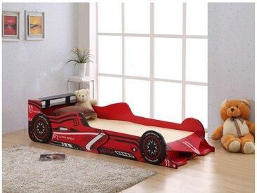 Lit voiture FORMULE 1 - 90x190cm - MDF rouge - LEDs
