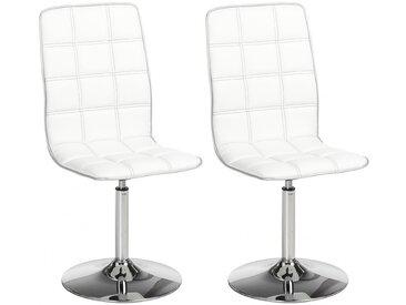 Lot de 2 chaises pivotantes SPRINGS - Simili - Blanc