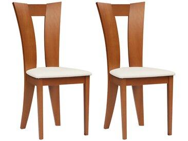 Lot de 2 chaises TIFFANY - Hêtre massif - Coloris : Chêne et blanc