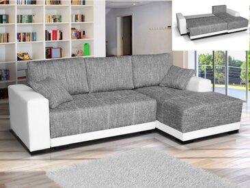 Canapé d'angle convertible en tissu et en simili JARED - Bicolore Blanc et gris chiné - Angle droit