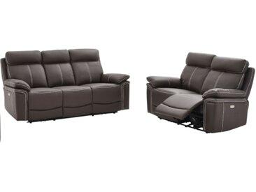 Canapé 3+2 places relax électrique en cuir ISIRIS - Marron
