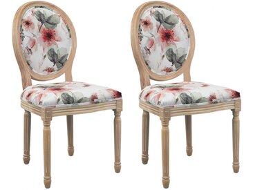 Lot de 2 chaises LOUIS XVI - Tissu effet velours - Motif Fleurs
