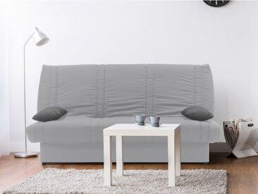 Canapé clic-clac 100% coton avec coffre de rangement FARWEST II - Gris clair coussins contrastés