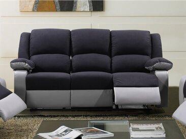 Canapé 3 places relax en microfibre et simili BILSTON II - Noir et gris