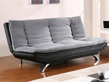 Canapé clic-clac en tissu et simili DEMIDO III - Gris et noir
