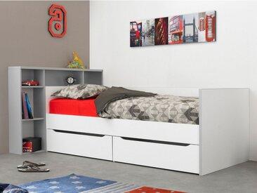 Lit + tête de lit OSCAR avec rangements et tiroirs - 90x200cm - Blanc et gris