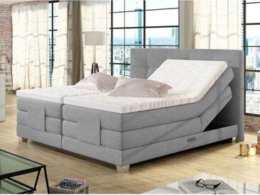 Ensemble boxspring complet tête de lit relevable + sommiers avec rangements + matelas + surmatelas CHIMERE de DREAMEA - gris clair - 2x80x200cm