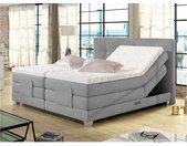 Ensemble boxspring complet tête de lit relevable + sommiers avec rangements + matelas + surmatelas CHIMERE de DREAMEA - gris clair - 2 x 80 x 200 cm