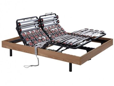 Sommier électrique de relaxation lattes et 2x30 plots déco bois chêne naturel de DREAMEA - 2x90x200cm - moteurs OKIN