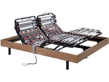 Sommier électrique de relaxation lattes et 2x30 plots déco bois chêne naturel de DREAMEA - 2 x 90 x 200 cm - moteurs OKIN