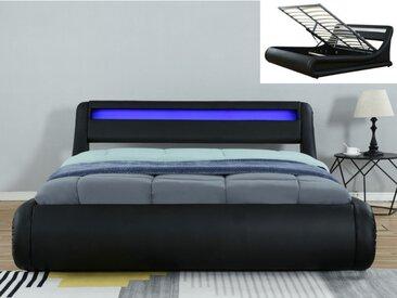 Lit coffre IRIS - 160x200cm - Simili noir avec LEDs