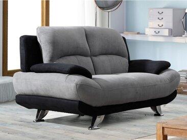 Canapé 2 places en microfibre MUSKO - Bicolore gris et noir