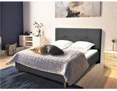 Lit LUCAS tête de lit capitonnée - 140 x 190 cm - Tissu gris