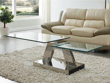 Table basse avec plateaux pivotants OYRUS - Verre trempé & métal