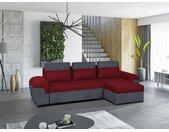 Canapé d'angle réversible et convertible en tissu GABY - Bicolore rouge et anthracite