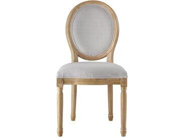 Lot de 2 chaises LOUIS XVI - Velours - Coloris gris pâle
