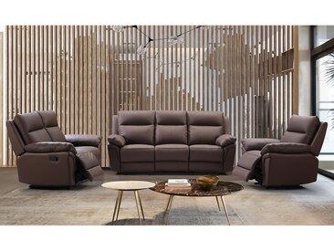 Canapé 3 places relax en cuir de buffle PAKITA - Marron