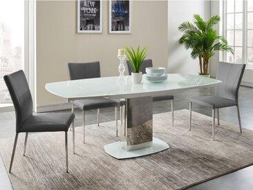 Ensemble table + 4 chaises TALICIA - Blanc et Gris