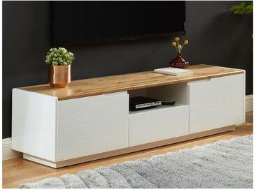 Meuble TV AMANI - 2 portes & 1 tiroir - MDF laqué Blanc - Coloris: Blanc et chêne