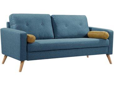 Canapé 3 places TATUM en tissu - Bleu