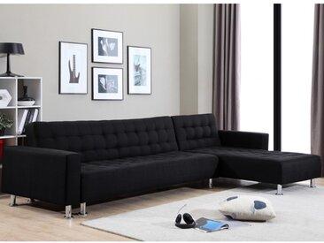 Canapé d'angle convertible et réversible en tissu WILLIS - Noir