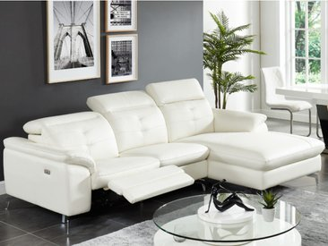 Canapé d'angle relax électrique en cuir de buffle LISMORE - Ivoire - Angle droit