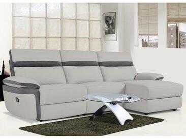 Canapé d'angle relax en simili et microfibre MERCUTIO - Gris clair et bandes anthracites - Angle droit