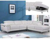 Canapé d'angle relax électrique en cuir PASCALINE - Ivoire - Angle droit