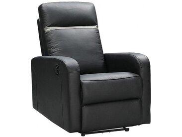 Fauteuil relax électrique en cuir ABERDEEN - Noir et bande anthracite