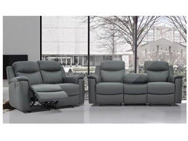 Canapé 3+2 places relax EVASION en cuir - gris - avec plateau bar