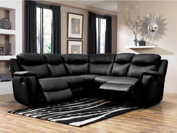 Canapé d'angle relax  cuir EVASION - Noir