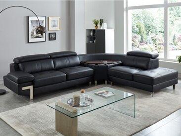 Canapé d'angle en cuir SLOANE - Noir - Angle droit