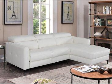 Canapé d'angle relax électrique SHILO en cuir supérieur - Blanc - Angle droit