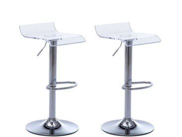 Lot de 2 tabourets de bar OLIVER - Acrylique - Transparent