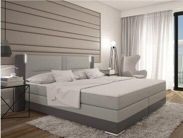 Ensemble boxspring complet tête de lit avec Leds + sommiers + matelas + surmatelas ASTI de DREAMEA - 160x200cm - simili - Anthracite et gris clair