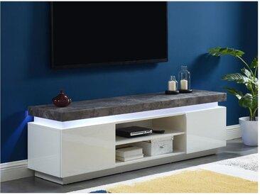 Meuble TV HALO II - 2 portes - MDF laqué - Avec LEDs - Blanc et béton