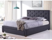 Lit avec tiroir et tête de lit capitonnée AGOSTINO - Tissu - 140x190 cm - Gris