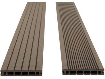 Lot de 30 lames de terrasse en composite réversibles TERAE II (9.6m²) - Ep : 24mm, Chocolat