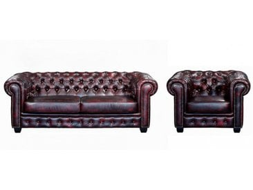 Canapé chesterfield 3+1 places BRENTON 100% cuir de buffle - Cherry